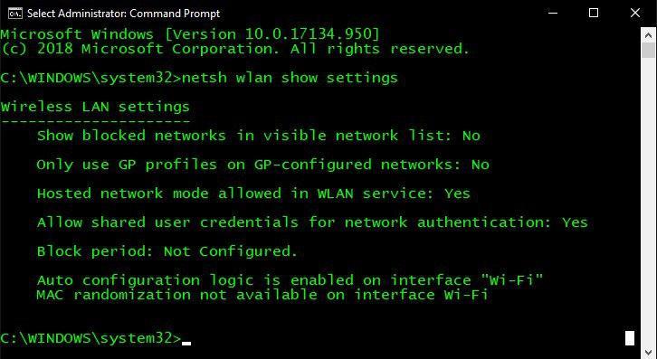 netsh show settings